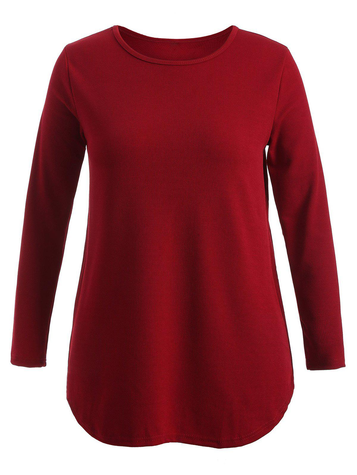 Plus Size Knitwear with Arc Hem - WINE RED 3XL