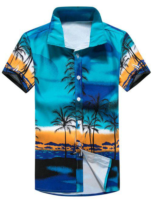 Short Sleeve Tropical Printed Shirt - BLUE 2XL
