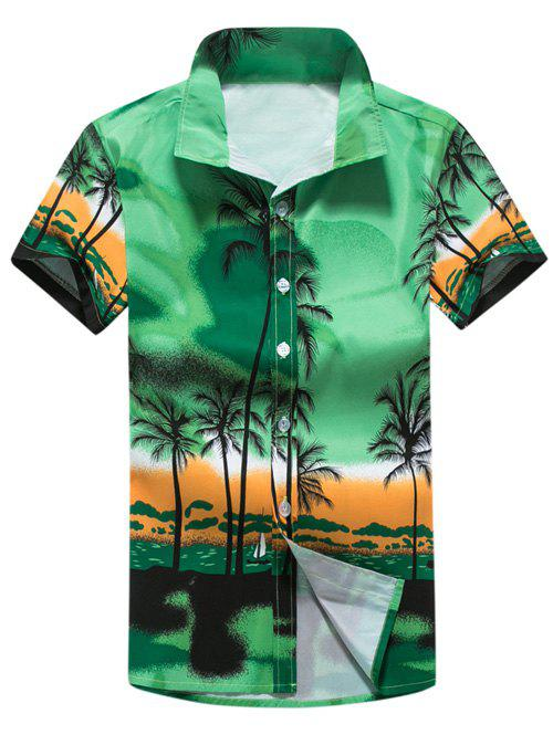 Short Sleeve Tropical Printed Shirt - GREEN 5XL