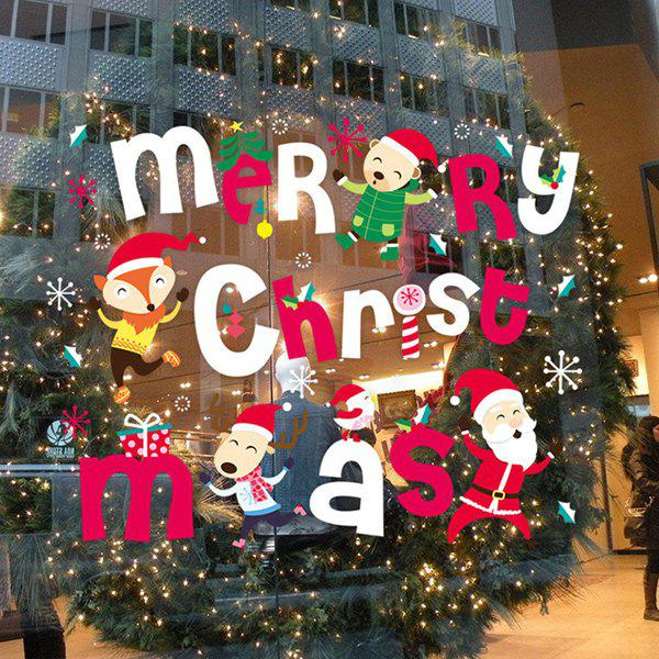 Merry Christmas Colorful Removable Glass Window Wall Stickers removable merry christmas tree diy window wall stickers
