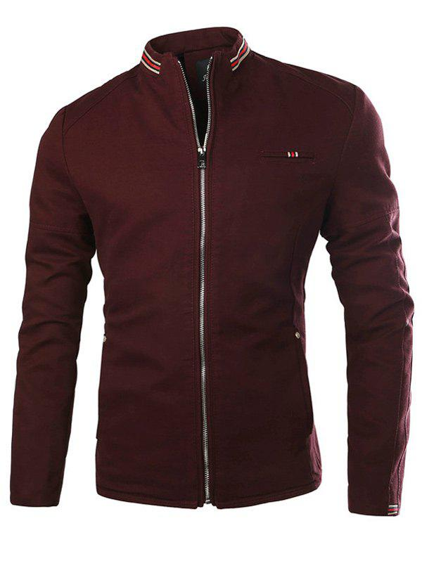 Stand Collar Stripe Selvedge Embellished Zip-Up Thicken Jacket - WINE RED XL