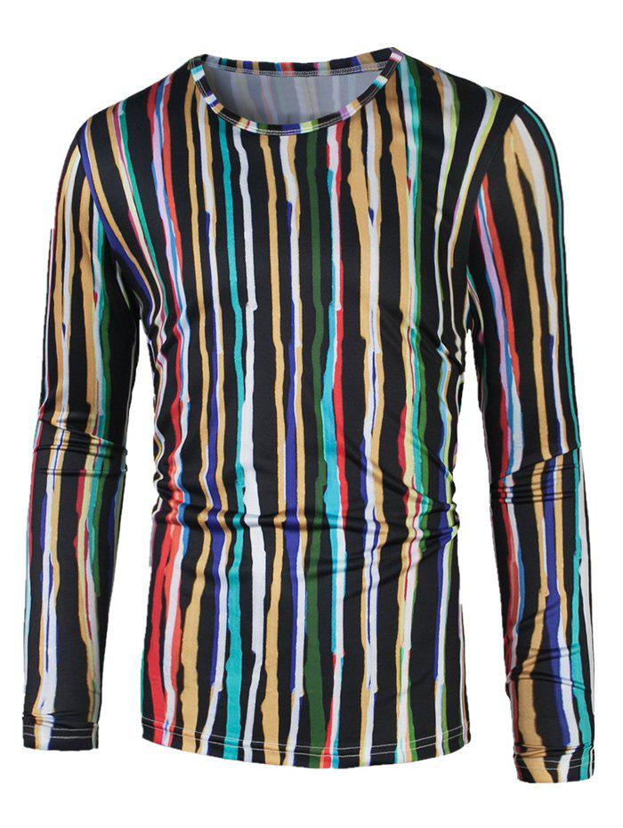 Colorful Vertical Striped Long Sleeve T-Shirt - COLORMIX XL