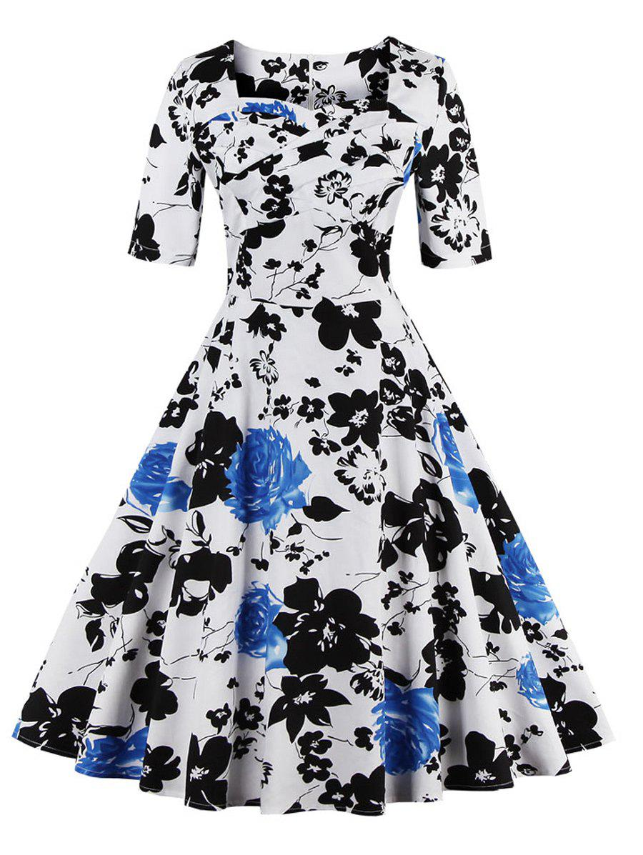 Vintage Sweetheart Neck Floral Print Pin Up Dress - BLUE S