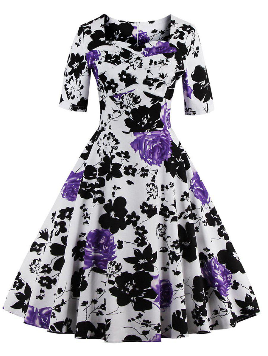 Vintage Sweetheart Neck Floral Print Pin Up Dress - PURPLE 5XL