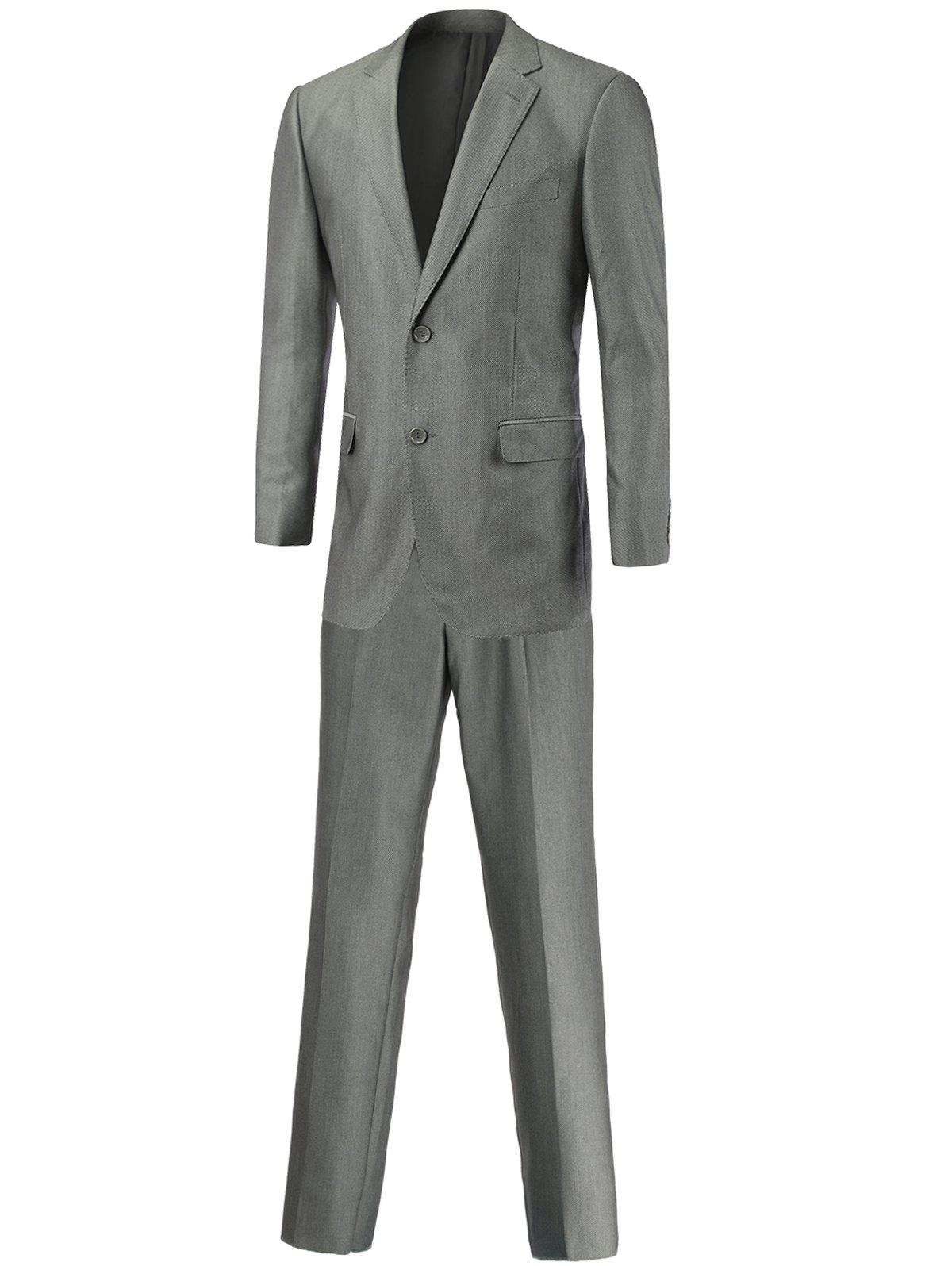 Slim-Fit Lapel Collar Flap Pocket Single Breasted Twinset SuitMen<br><br><br>Size: 3XL<br>Color: GRAY