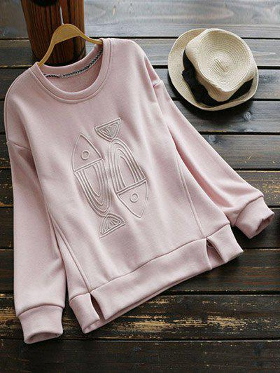 Crew Neck Fleece Lined Sweatshirt - PINK M