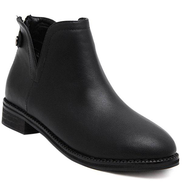 Concise PU Leather Back Zip Ankle Boots - BLACK 39