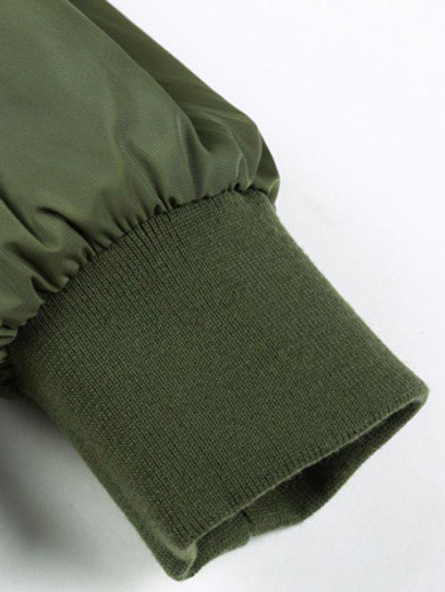 Stand Collar Appliques Zip-Up Thicken Jacket - ARMY GREEN 3XL