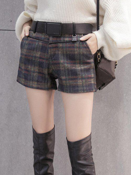 Mini Checked Woolen Shorts - BLACK XL