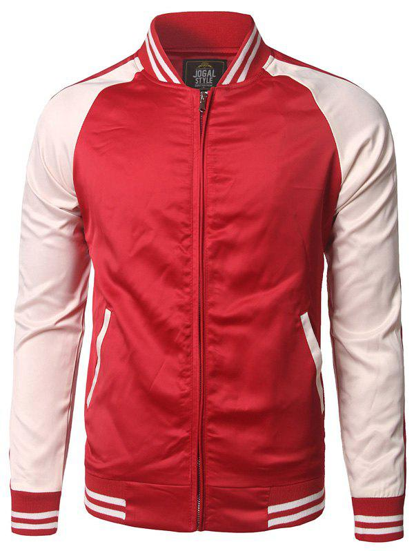 Pocket Design Color Block Striped Zippered JacketMen<br><br><br>Size: XL<br>Color: RED