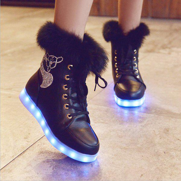 PU Leather Furry Led Luminous BootsShoes<br><br><br>Size: 37<br>Color: BLACK