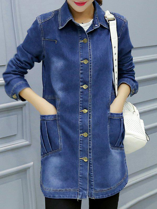 Button-Down Pocket Design Denim Coat - DENIM BLUE S