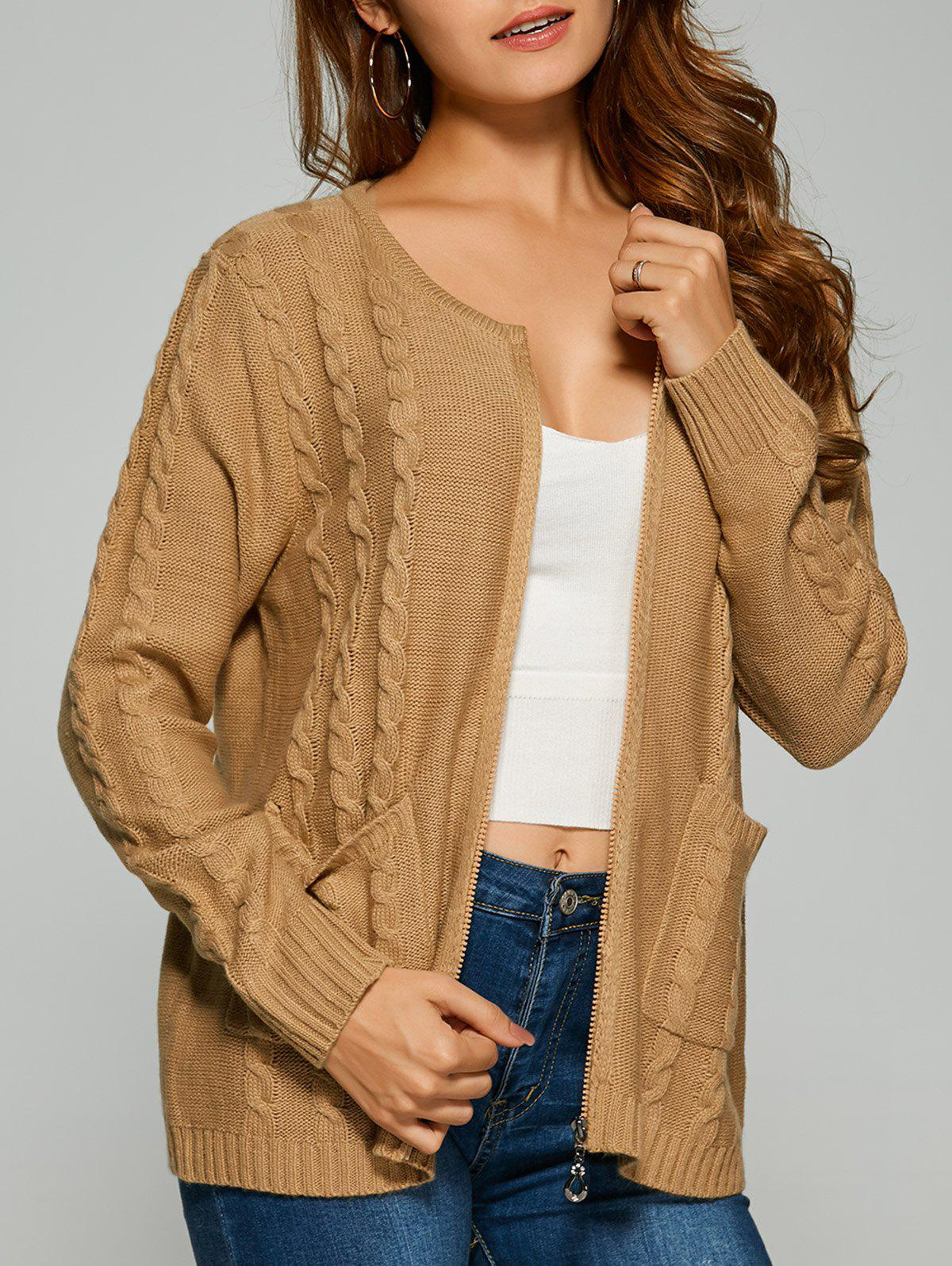 Cable Knit Cardigan With Pockets, CAMEL, ONE SIZE in Sweaters ...