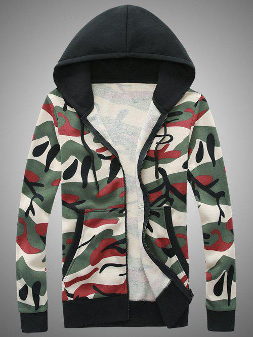 Buy Camouflage Hooded Zip-Up Hoodie RED