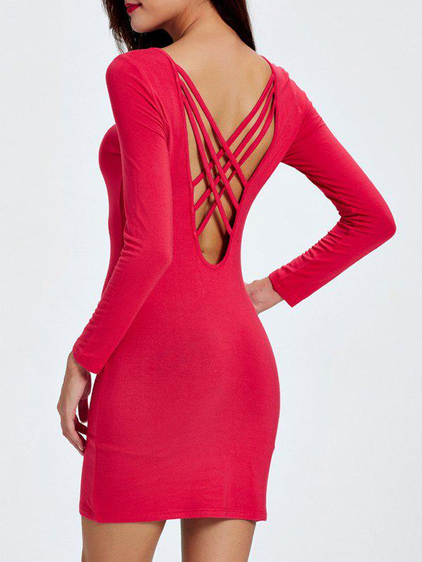 Criss Cross Strappy Backless Dress - RED M