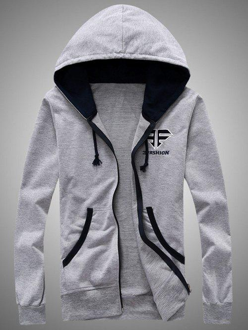 Color Block Splicing Hooded Zip-Up Embroidered HoodieMen<br><br><br>Size: L<br>Color: GRAY