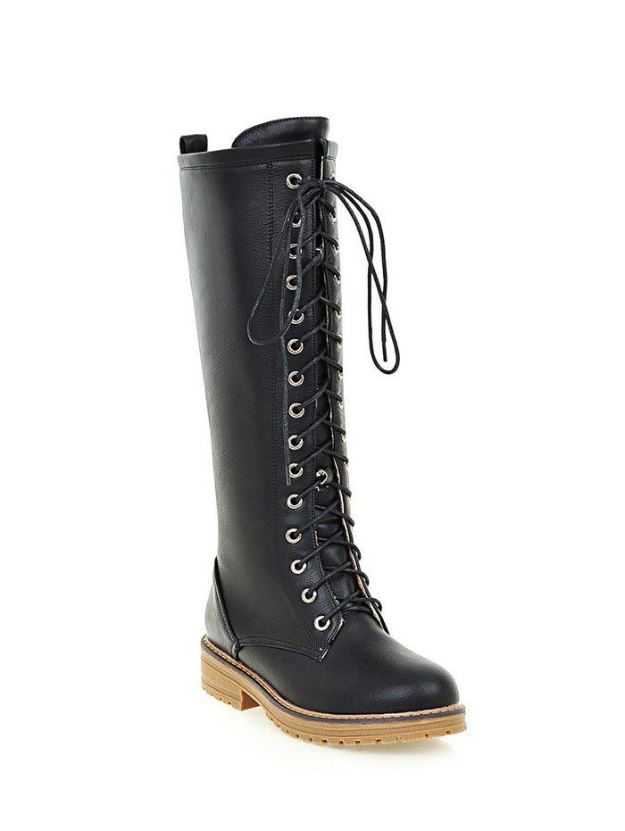 Retro Lace Up Mid PU Leather Calf BootsShoes<br><br><br>Size: 39<br>Color: BLACK
