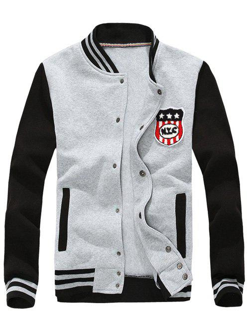 Badge Applique Striped Stand Collar Baseball Jacket - GRAY XL