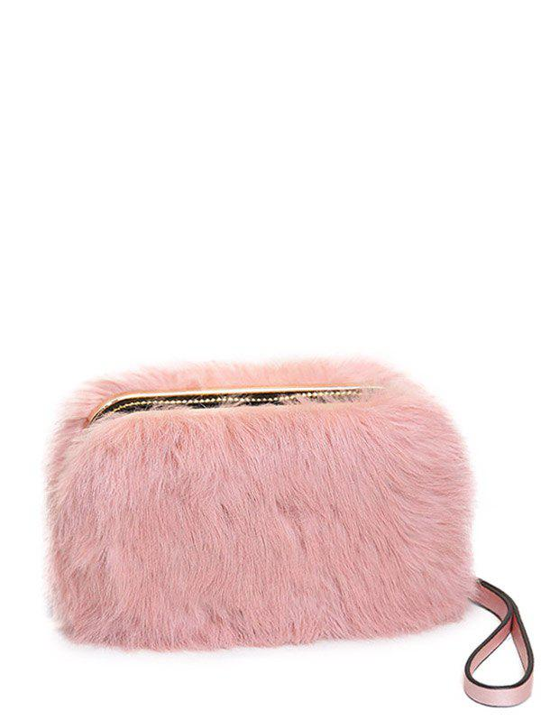 Metal Trimmed Zip Around Fuzzy Evening Bag - PINK