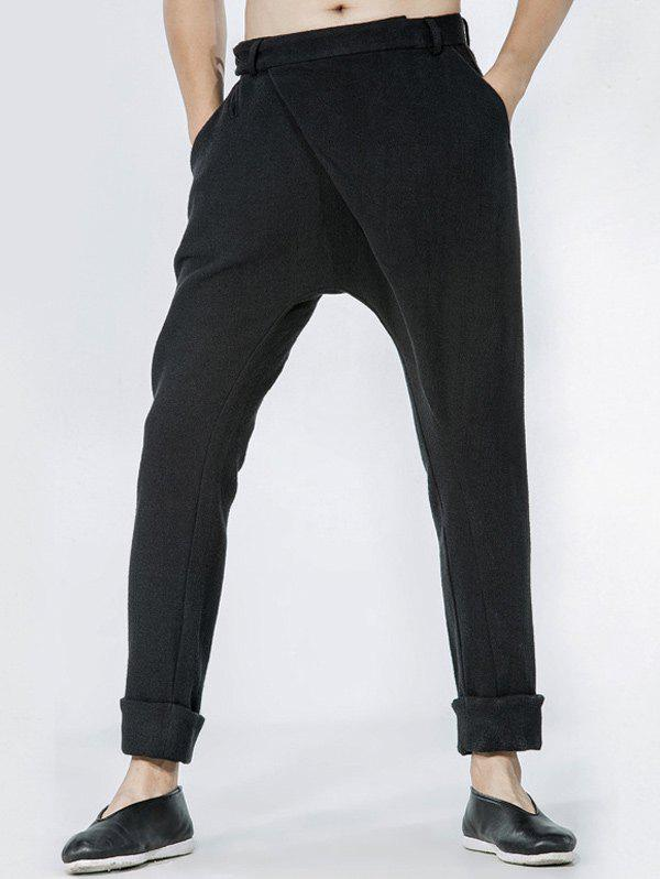 Drop Crotch Single Pocket Back Wrap Pants - BLACK 34