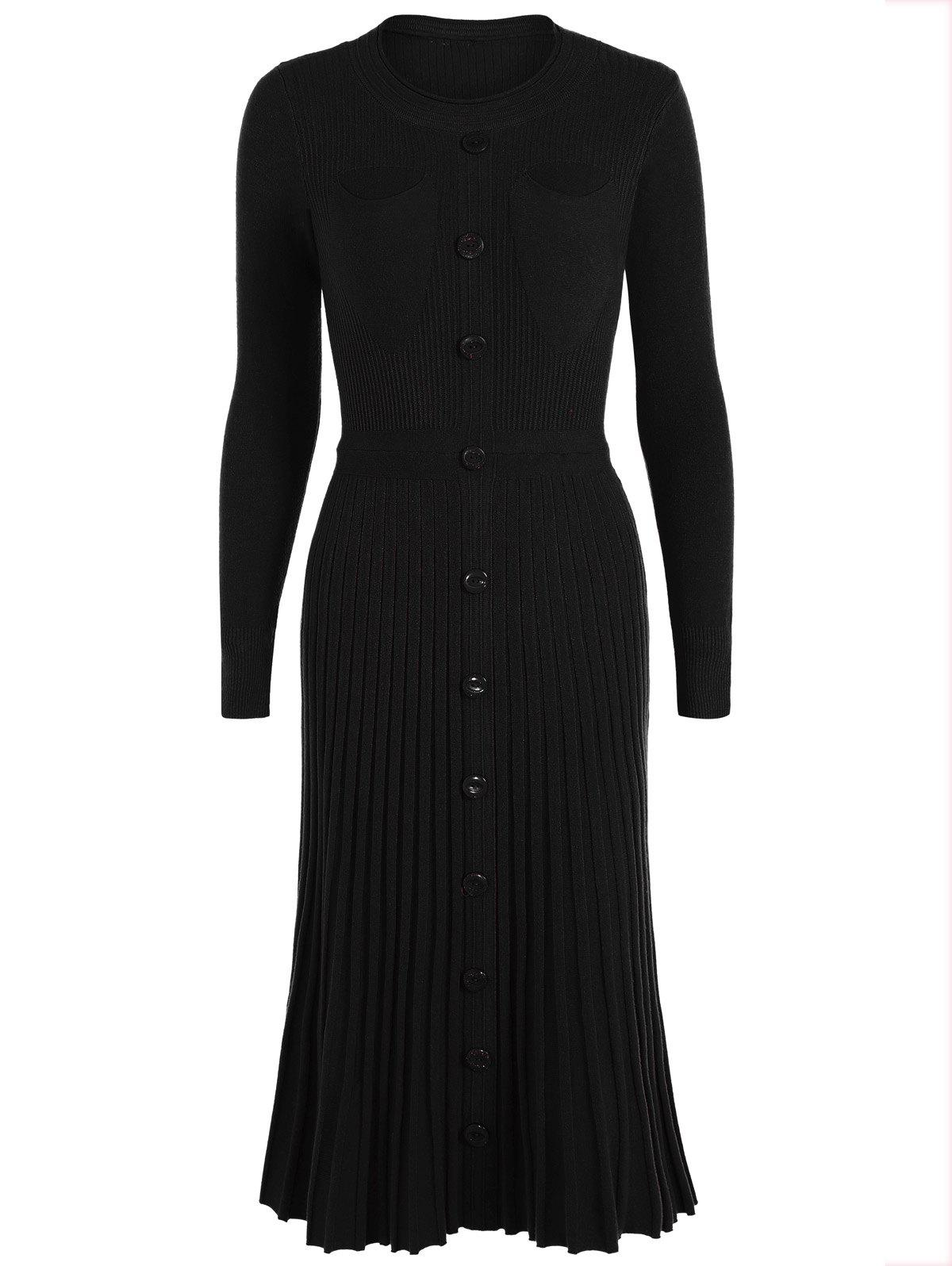 Long Knitted Jumper Dress With Buttons - BLACK ONE SIZE