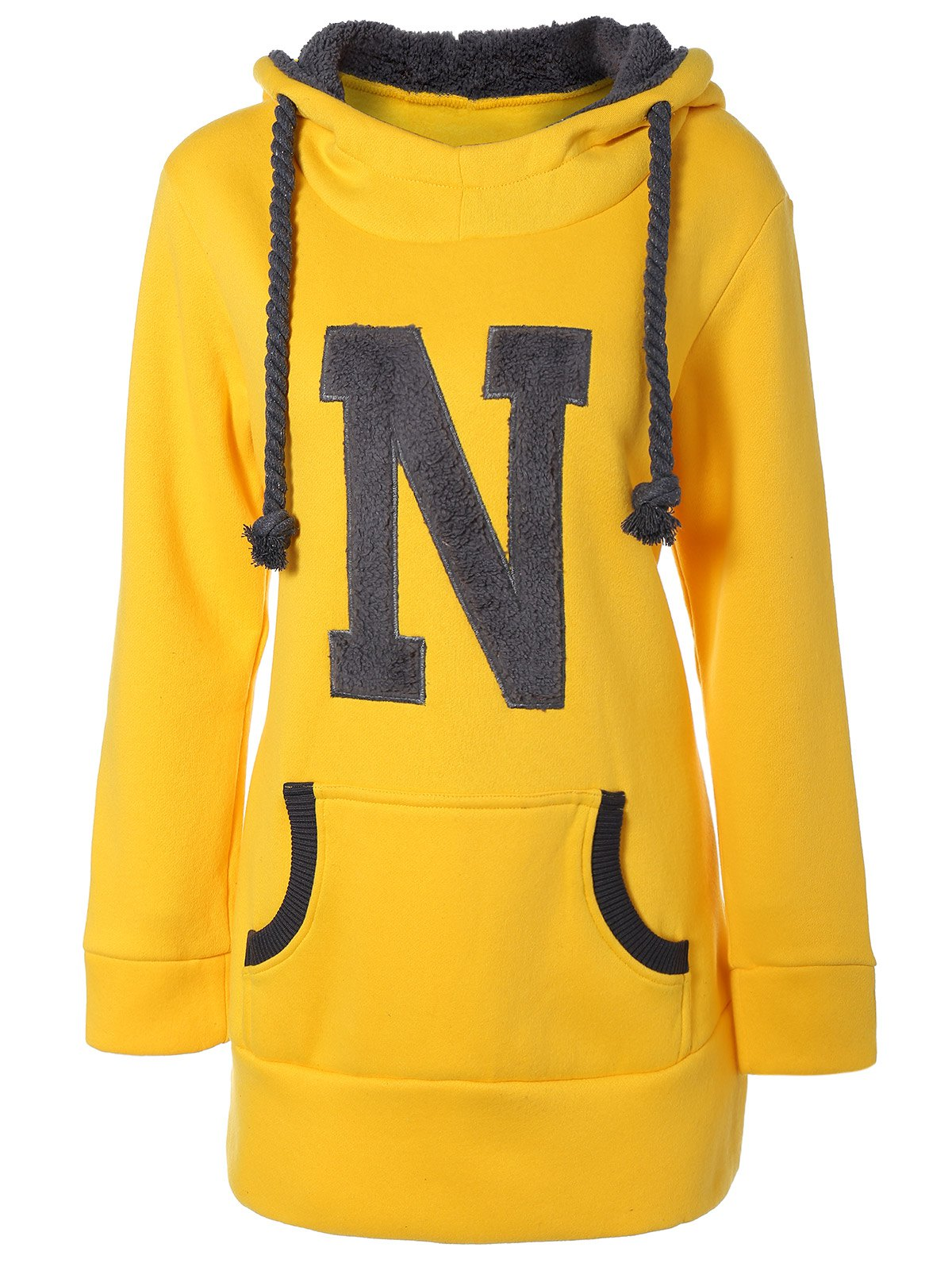 Drawstring N Graphic Flocking HoodieWomen<br><br><br>Size: L<br>Color: YELLOW