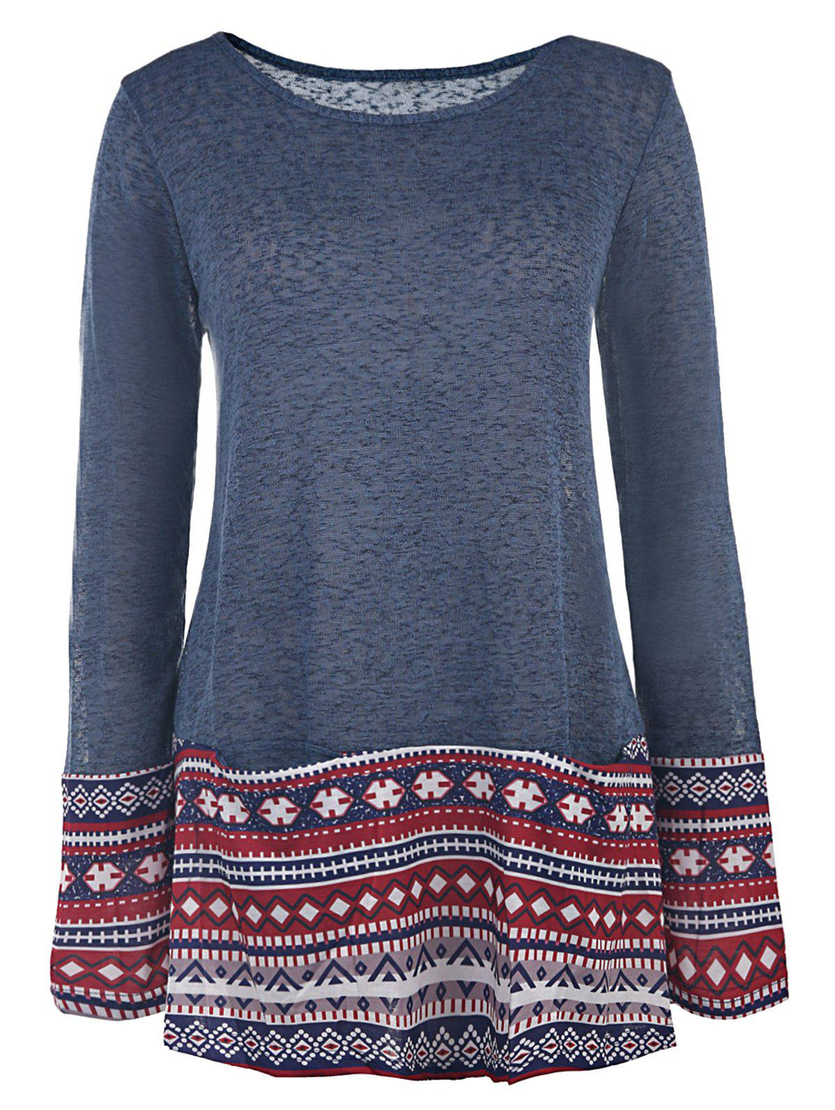 Casual Style Long Sleeve Scoop Collar Ethnic Print Women's T-Shirt - PURPLISH BLUE S