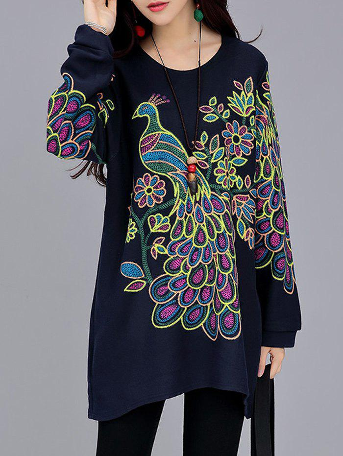Peacock Print Loose-Fitting T-Shirt - PURPLISH BLUE L