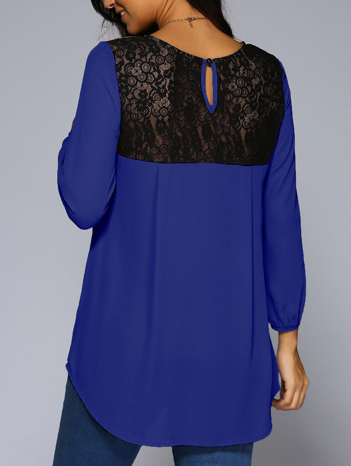 Lace Patchwork High Low Hem Chiffon Blouse - BLUE M
