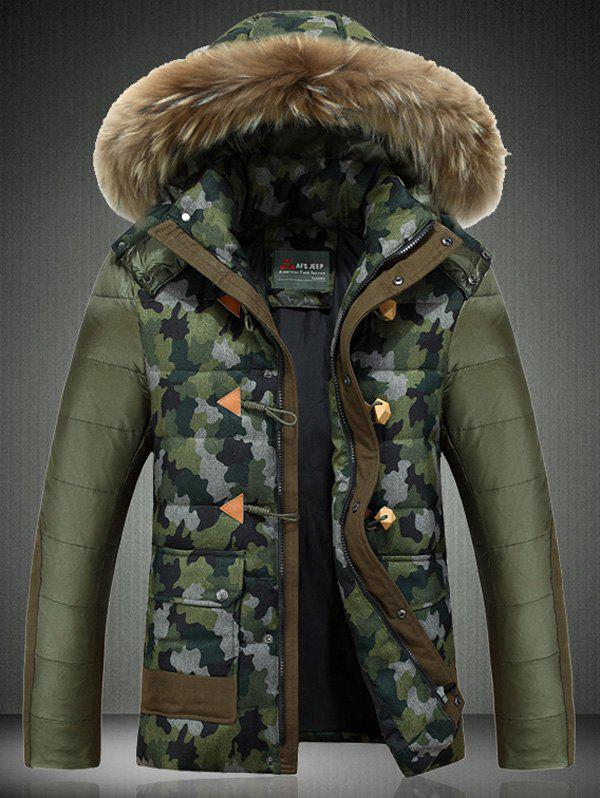 Buy Camouflage Detachable Faux Fur Collar Hooded Zip-Up Jacket ARMY GREEN