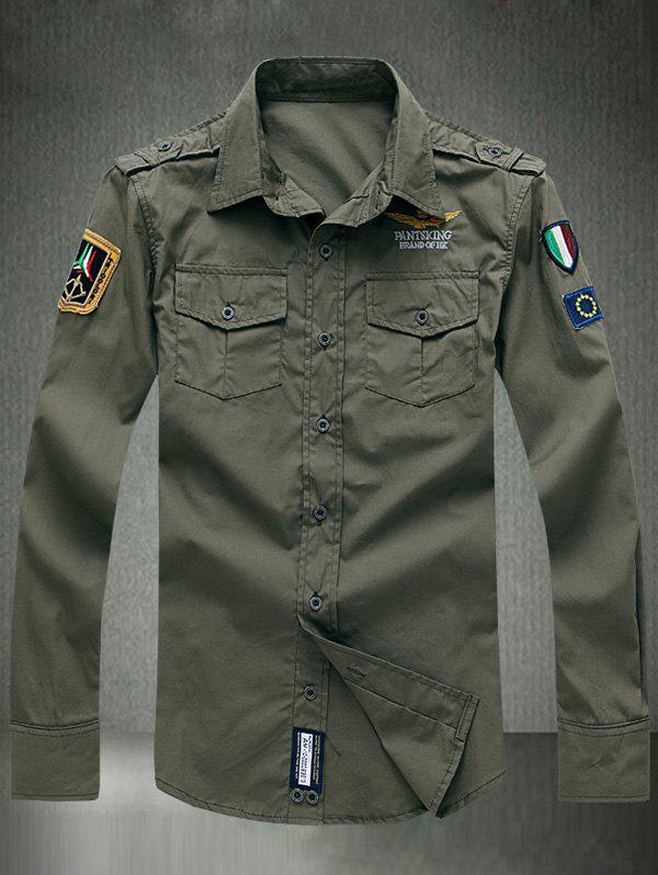 Embroidered Appliques Turn-Down Collar Long Sleeve ShirtMen<br><br><br>Size: 2XL<br>Color: ARMY GREEN