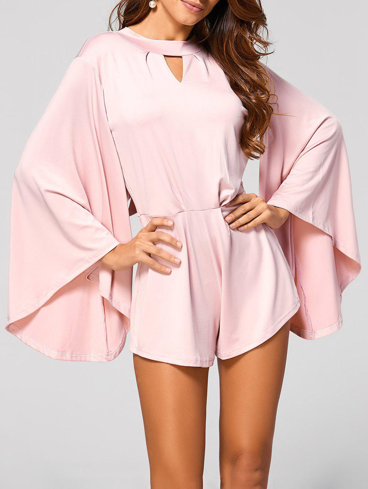 Cut Out Flare Sleeve Fitting Romper - PINK S