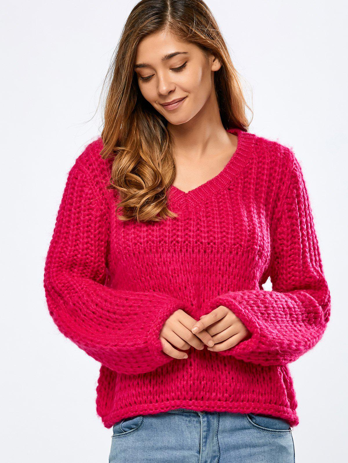 Balloon Sleeve Crochet Chunky SweaterWomen<br><br><br>Size: ONE SIZE<br>Color: ROSE RED