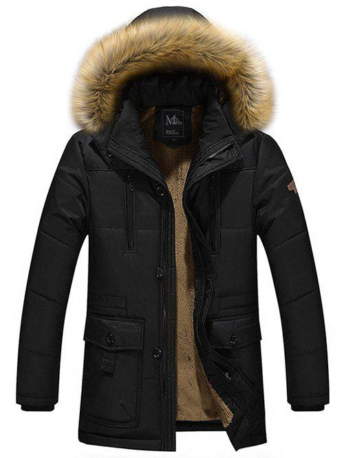 Zippered Multi Pocket Faux Fur Hooded Flocking Jacket multi pocket faux fur hooded zippered flocking jacket