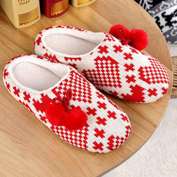 Color Block Knitted Winter Slippers - RED SIZE(39-40)