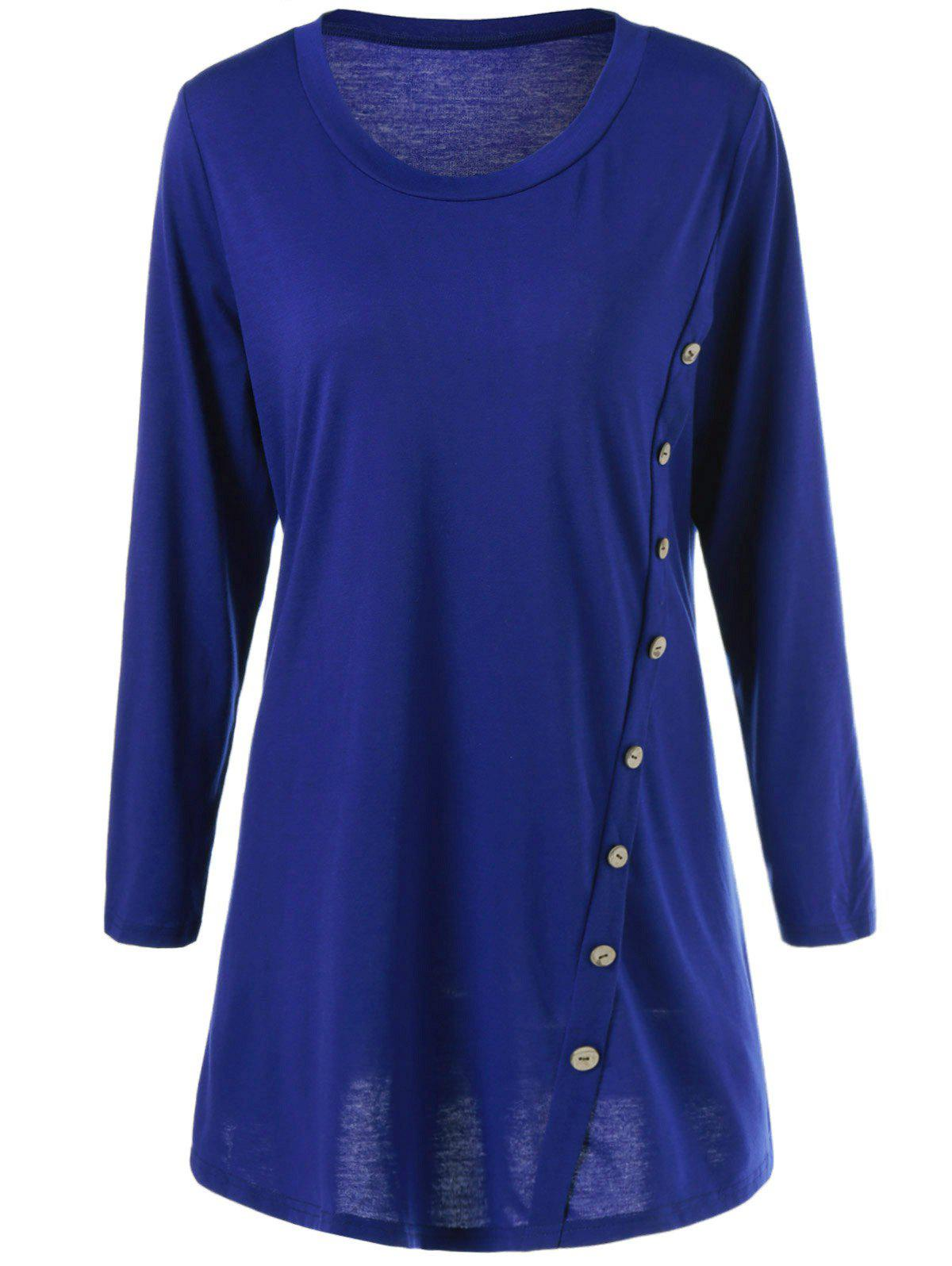 Plus Size Inclined Button Long Sleeve T-shirt Dress plus size inclined button hankerchief dress