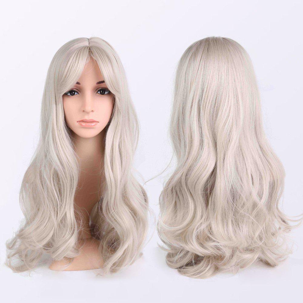 Fluffy Long Wavy Middle Parting Anime WigsHair<br><br><br>Color: LIGHT GRAY