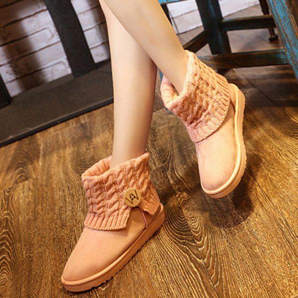 Button Cable Knitted Snow Boots - PINK 38
