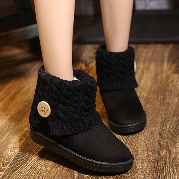 Button Cable Knitted Snow Boots - BLACK 40
