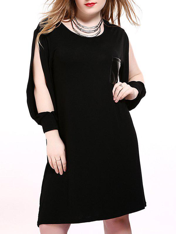 2018 Split Sleeves Leather Patch Shift Dress Black Xl In Plus Size