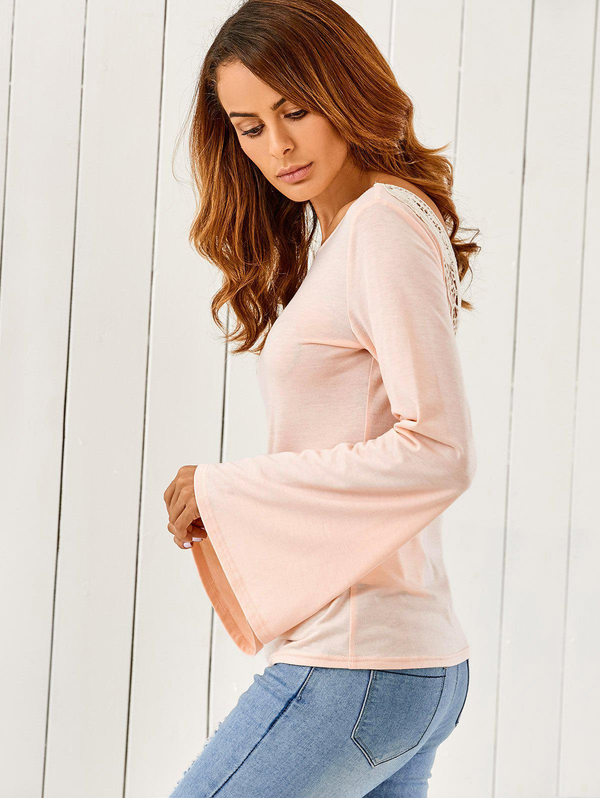 Butterfly Pattern Flare Sleeve T-Shirt - SHALLOW PINK XL