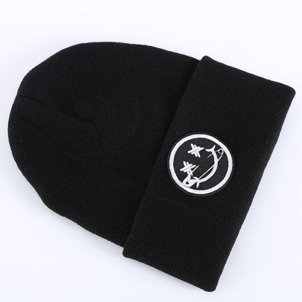 Stylish Warm Safty Pin and Smilling Face Design Men's Knitted Beanie - BLACK