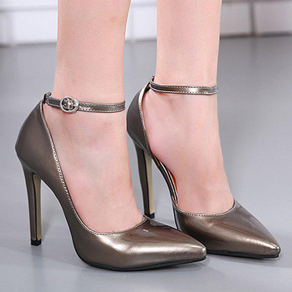 Ankle Strap Patent Leather Stiletto Heel Pumps - GUN METAL 39