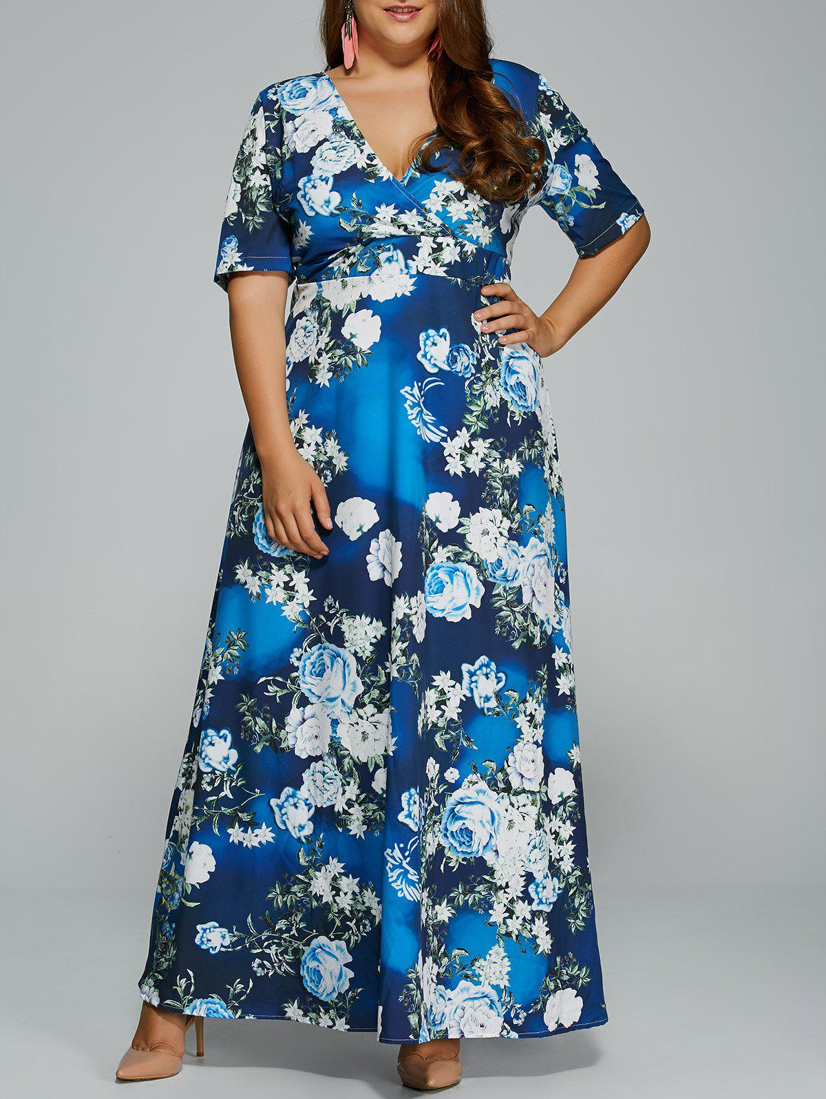 Hawaiian print maxi dress