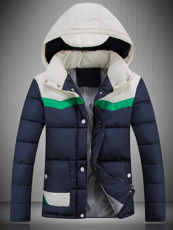 Color Block Spliced Hooded Padded Jacket - CADETBLUE M