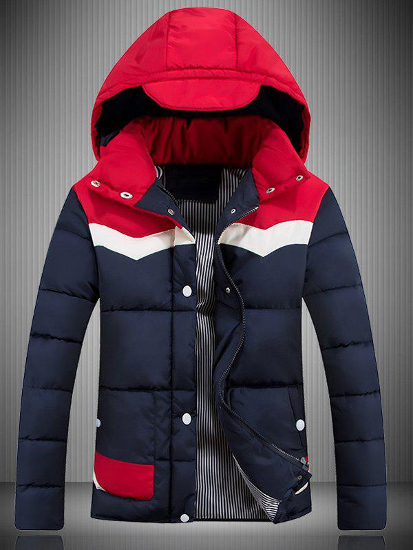 Color Block Spliced ​​Hooded Veste matelassée - Rouge M