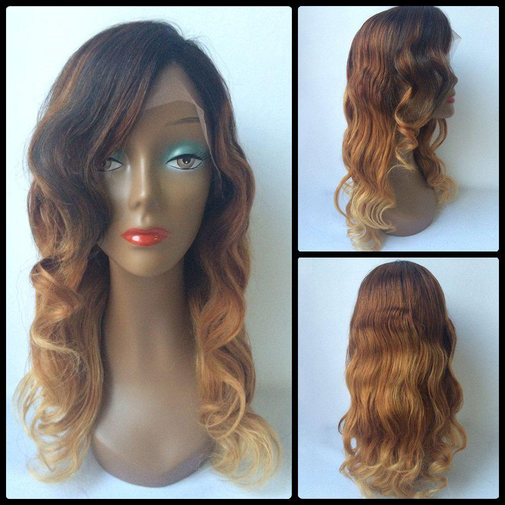 Wavy Long Side Parting Ombre Lace Front Human Hair Wig dark to brown body wavy ombre synthetic lace front wig ombre synthetic lace front wig cosplay heat resistant