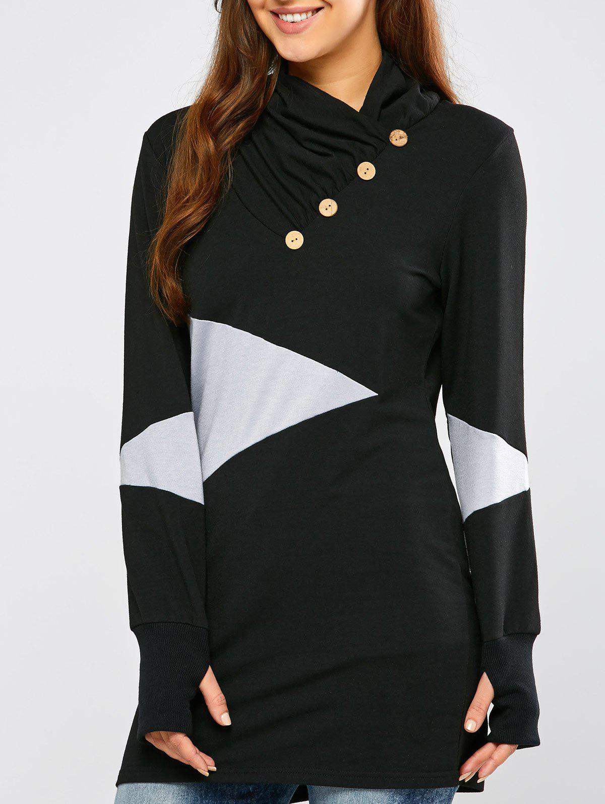 Casual Geometric Mini Sweatshirt Dress - BLACK S
