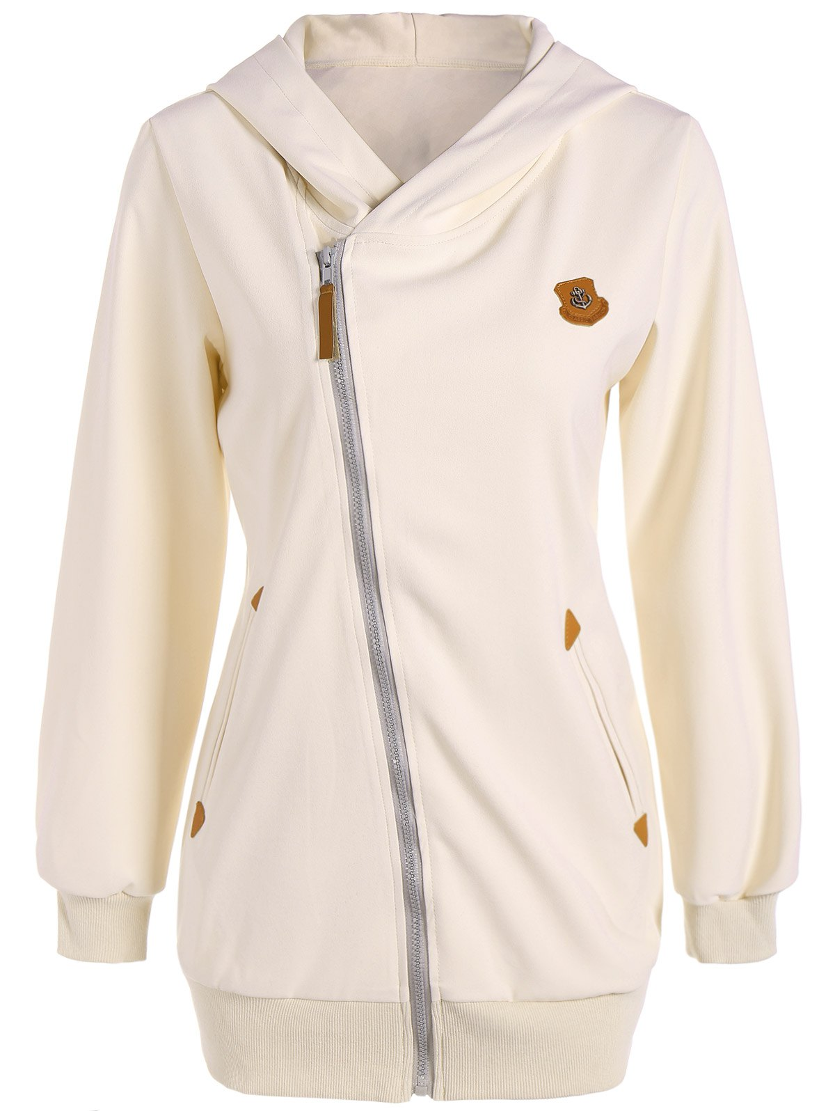 Leather Patch Zip Up HoodieWomen<br><br><br>Size: M<br>Color: OFF-WHITE