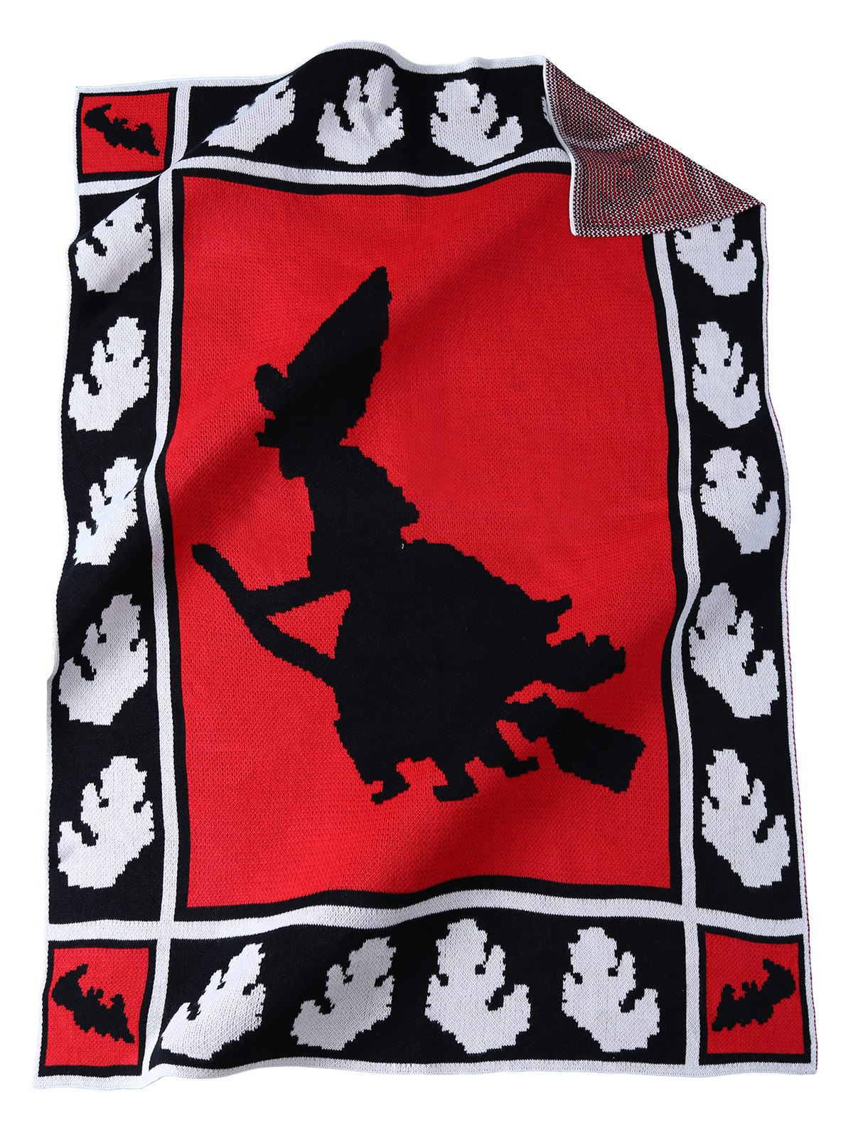 Keep Warm Witch Pattern Knitted Rectangle BlanketHome<br><br><br>Color: RED